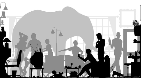 Editable vector silhouettes of a family gathering in a living room with an elephant in the background