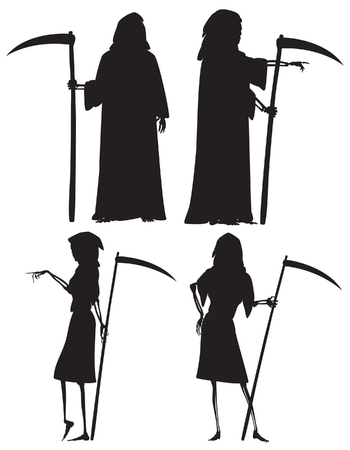 Editable vector silhouettes of The Grim Reaper and his wife The Grim Reapress with scythes as separate objects