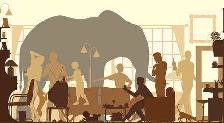 Silhouettes vectoriel éditable d'un éléphant debout dans un salon au cours d'une réunion de famille Banque d'images - 24908264