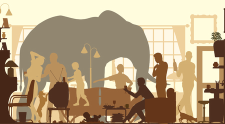 Editable vector silhouettes of an elephant standing in a living room during a family gathering  Vectores