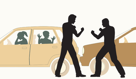 Editable vector illustration of two men fighting after a minor road accident