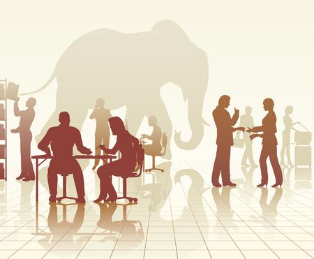 반사와 사람들의 바쁜 사무실에서 코끼리의 편집 가능한 벡터 실루엣