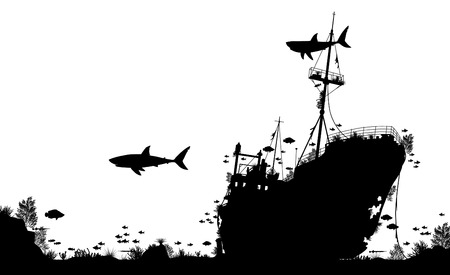 silhouette foreground of coral, sharks and fish around a sunken boat Illustration