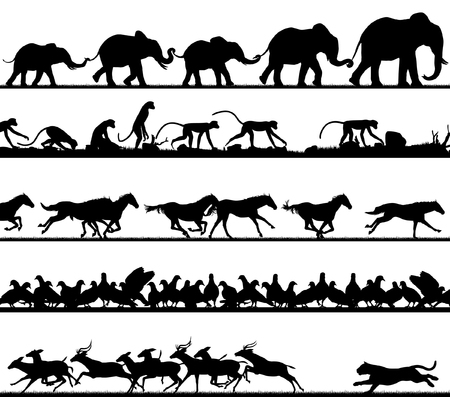 Set of editable vector animal silhouette foregrounds with all figures as separate objects Stock Illustratie