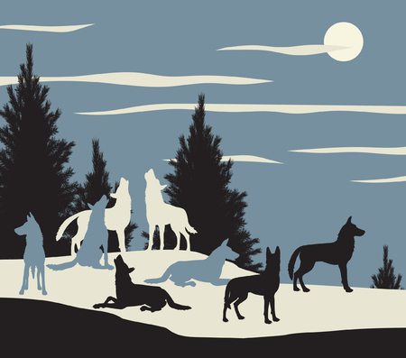 illustration of a wolf pack howling at the moon Stock Illustratie