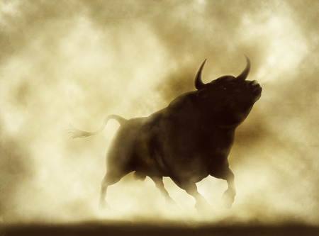 Illustration of an angry bull silhouette in a smoky or dusty atmosphere 写真素材