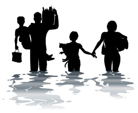 홍수를 통해 물건을 운반하는 가족의 편집 가능한 벡터 일러스트 레이 션