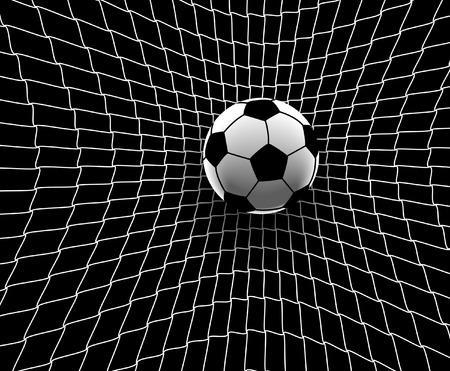 Ilustración vectorial editable de una pelota de fútbol golpeando el fondo de la red