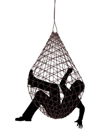 Illustrazione vettoriale modificabile di un uomo catturato in una trappola netto Archivio Fotografico - 27564444