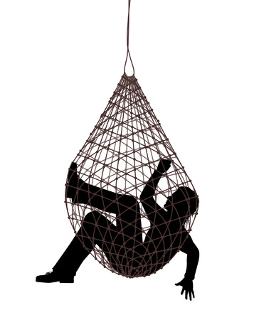 Editable vector illustration of a man caught in a net trap