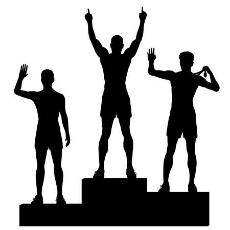 Siluetas de los tres atletas masculinos que celebran en un podio de medallas Foto de archivo - 27717329