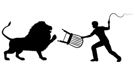 silhouette of a lion-taming man with whip and chair Ilustrace