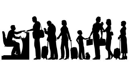 Editierbare Silhouetten von einer Schlange von Menschen in einem Einwanderungs Schreibtisch mit allen Figuren und Gepäck als separate Objekte Standard-Bild - 28064500