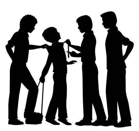 maltrato infantil: Siluetas vectoriales editables de chicos mayores intimidación a un muchacho joven, con todas las figuras como objetos separados