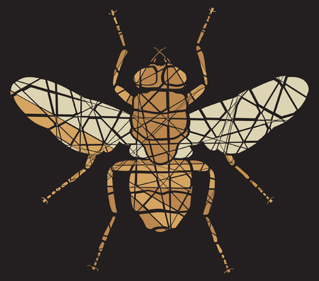nuisance: Editable vector shattered mosaic illustration of a fly Illustration