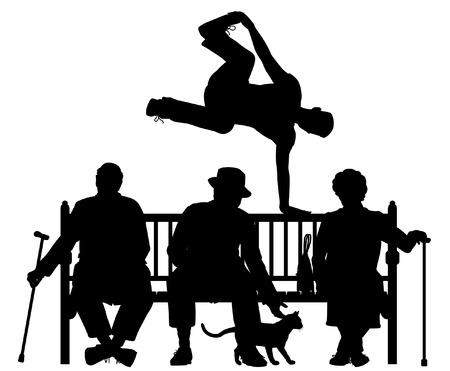 Editable vector silhouette of a young man vaulting over three elderly people on a park bench with all elements as separate objects Illustration