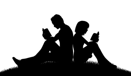 woman reading book: Editable vector silhouette of a couple sitting outside reading with figures as separate objects Illustration