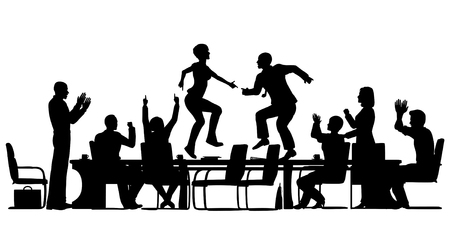 Editable vector silhouettes of business people celebrating at a meeting by dancing on the table with all elements as separate objects Vector