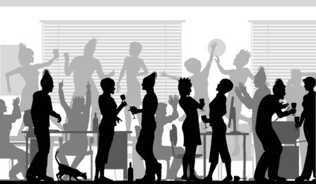 Editable vector silhouettes of business people at an office party with all elements as separate objects Illustration