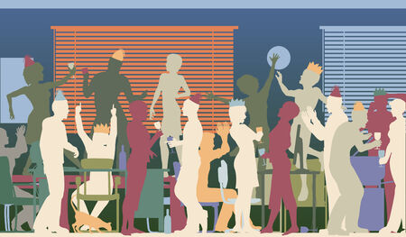 lively: Colorful editable vector silhouettes of business people at an office party with all elements as separate objects