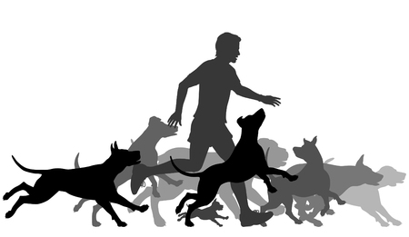Editable vector silhouettes of a man and pack of dogs running together with all elements as separate objects Stock Illustratie