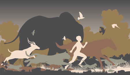Editable vector silhouettes of a man running together with various animals 일러스트