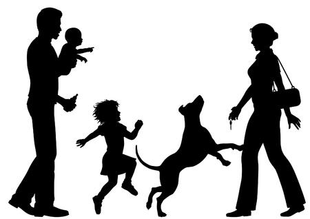 Editierbare Silhouetten einer Frau zu Hause willkommen geheißen von Ehemann Standard-Bild - 30540455
