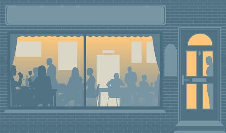 Illustrazione modificabile di persone che mangiano attraverso una finestra del ristorante Archivio Fotografico - 30541736