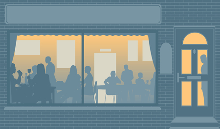 Editable illustration of people eating through a restaurant window