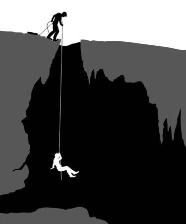 Editable illustration of cavers exploring a cave Vectores