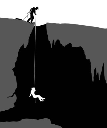 Editable illustration of cavers exploring a cave Illustration