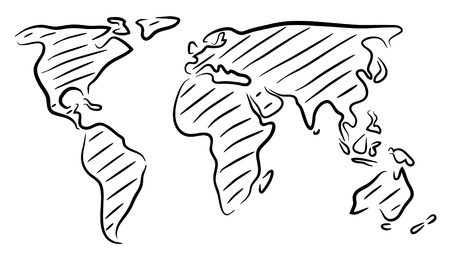Editable vector rough outline sketch of a world map Ilustracja
