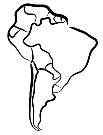 Modifiable carte vecteur de croquis de l'Amérique du Sud Vecteurs