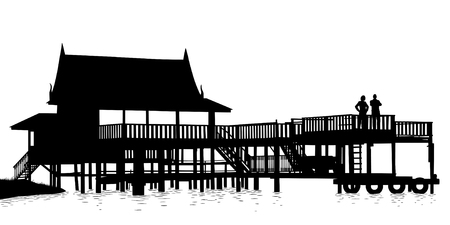 Editable vector silhouette of an extensive wooden terrace over water with people as separate objects Illustration