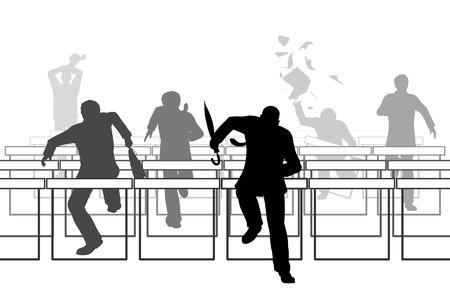 Modifiable illustration vectorielle d'hommes d'affaires de course sur des obstacles de haies Banque d'images - 34913917