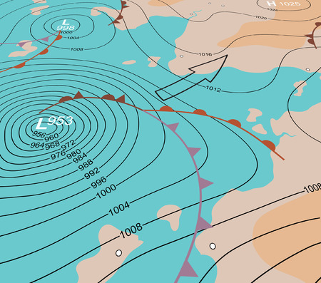 Editable vector illustration of an angled generic weather map showing a storm depression