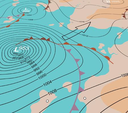 Ilustración vectorial editable de un mapa del tiempo genérico ángulo mostrando una depresión tormenta