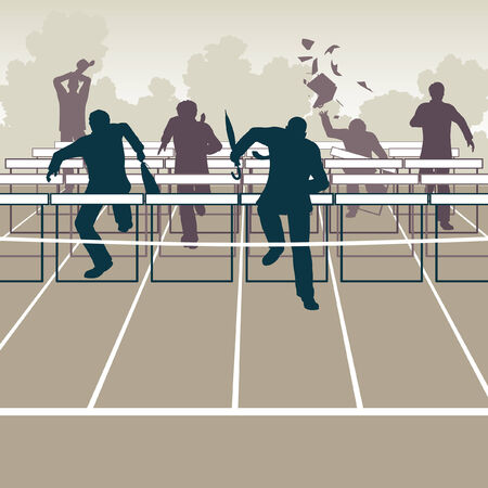 Editable vector illustration of businessmen racing to the finish over hurdle obstacles
