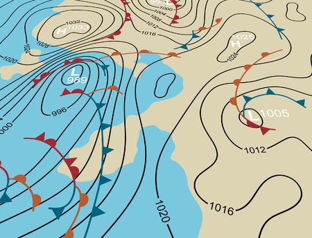 Editable vector illustration of an angled generic weather system map 版權商用圖片 - 35100174