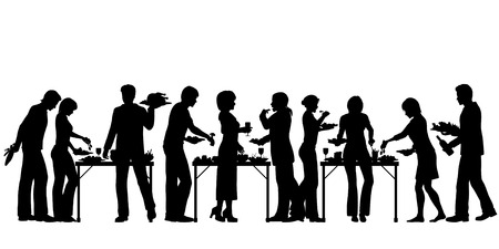 EPS8 editable vector silhouettes of people enjoying a buffet with all elements as separate objects