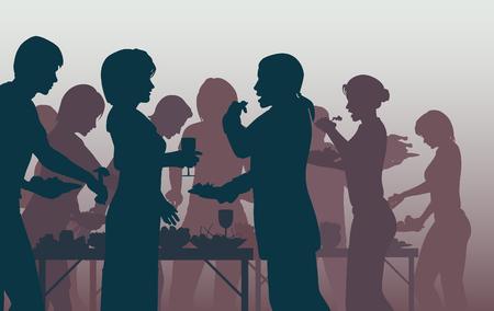 EPS8 modifiable illustration vectorielle de personnes bénéficiant d'un buffet avec tous les chiffres comme des objets distincts Banque d'images - 35807669