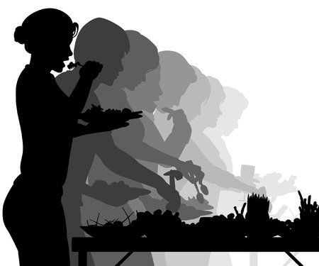 EPS8 editable vector silhouettes of people enjoying a buffet table