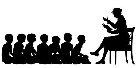 EPS8 bearbeitbaren Vektor Silhouetten einer Frau Lehrerin liest eine Geschichte, um ihre Schüler mit allen Zahlen als separate Objekte Standard-Bild - 35807672