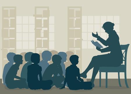 Ilustración vectorial editable EPS8 de una profesora lee una historia a sus alumnos que se sientan en el suelo