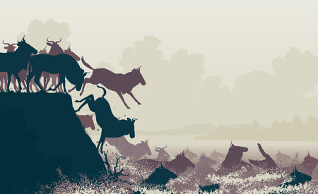 EPS8 editable vector cutout illustration of wildebeest on migration crossing a large river with a crocodile Illustration