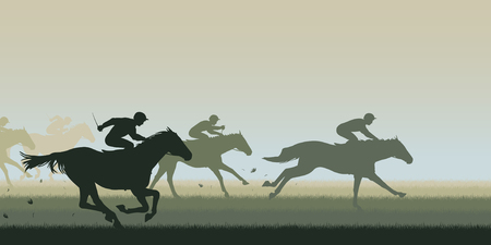EPS8 editable vector cutout illustration of a horse race with all horses and riders as separate objects Stock Illustratie
