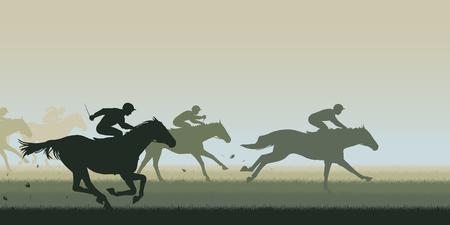 EPS8 illustration modifiable vecteur de découpe d'une course de chevaux avec tous les chevaux et les cavaliers comme des objets distincts Banque d'images - 38594358