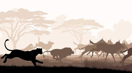 EPS8 editable vector cutout illustration of lions chasing a herd of wildebeest with all figures as separate objects Иллюстрация