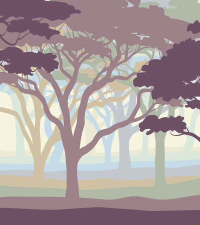 editable vector illustration of an open acacia woodland in pastel colors