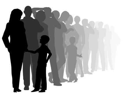 editable cutout illustration of a long queue of people waiting patiently with all figures as separate objects Vectores